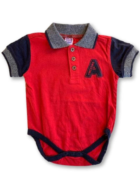 0-3 Months Red Navy & Grey Short Sleeve Vest /Onesie with Coller - Ackermans-Vests-Wear it Again SA