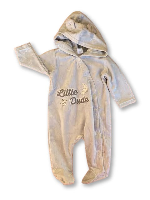 0-3 Months Long Sleeve Embroidered Grey Babygrow /Onesie - Ackermans-Babygrows-Wear it Again SA