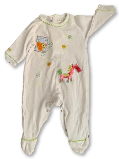 0-3 Months White Embroidered Babygrow /Onesie - Mamas & Papas-Babygrow-Wear it Again SA