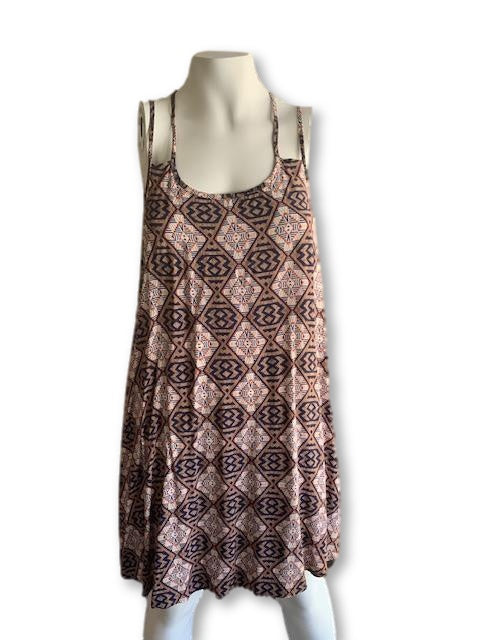 Size 10 Brown, Navy and Orange Print Long Top - The Fix-Tops-Wear it Again SA