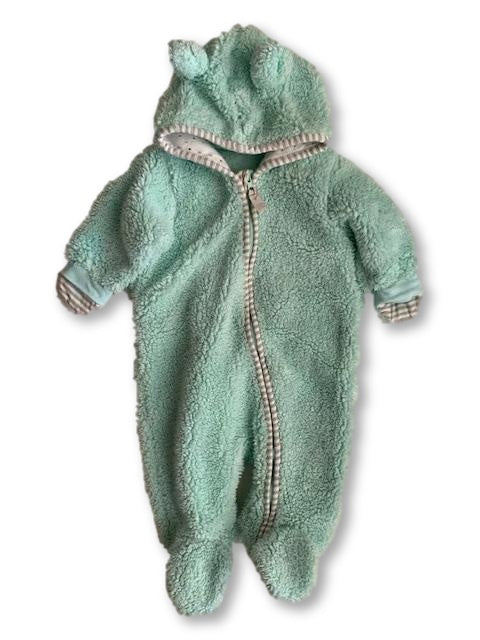 1-3 Months Long Sleeve Fluffy Turquoise Onesie - Woolworths-Onesie-Wear it Again SA