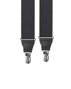 clip-on-suspenders - Big & Tall Black Silk Clip-on Suspenders - KK & Jay Supply Co.