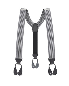 suspenders - Big & Tall Kingsbridge Black Stripe Suspenders - KK & Jay Supply Co.