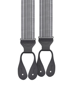 Kingsbridge Black Stripe Suspenders - KK & Jay Supply Co.