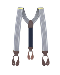 suspenders - Big & Tall Kingsbridge Navy Stripe Suspenders - KK & Jay Supply Co.