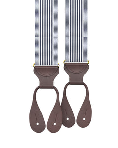 Big & Tall Kingsbridge Navy Stripe Suspenders - KK & Jay Supply Co.