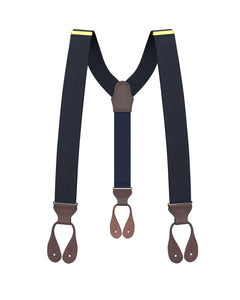 Big & Tall Navy Silk Suspenders - KK & Jay Supply Co.