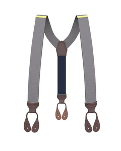 Big & Tall Grey Grosgrain Suspenders - KK & Jay Supply Co.