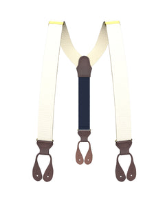 Big & Tall Ivory Grosgrain Suspenders - KK & Jay Supply Co.