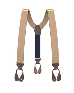 suspenders - Big & Tall Khaki Grosgrain Suspenders - KK & Jay Supply Co.