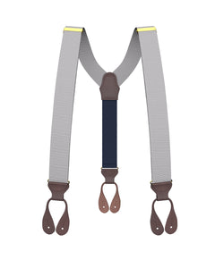 suspenders - Big & Tall Silver Grosgrain Suspenders - KK & Jay Supply Co.