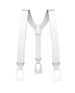 suspenders - Big & Tall White Grosgrain Suspenders - KK & Jay Supply Co.