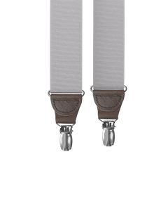 clip-on-suspenders - Silver Grosgrain Clip-on Suspenders - KK & Jay Supply Co.