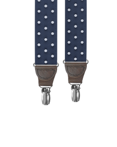 Tibbett Spot Navy Clip-on Suspenders - KK & Jay Supply Co.