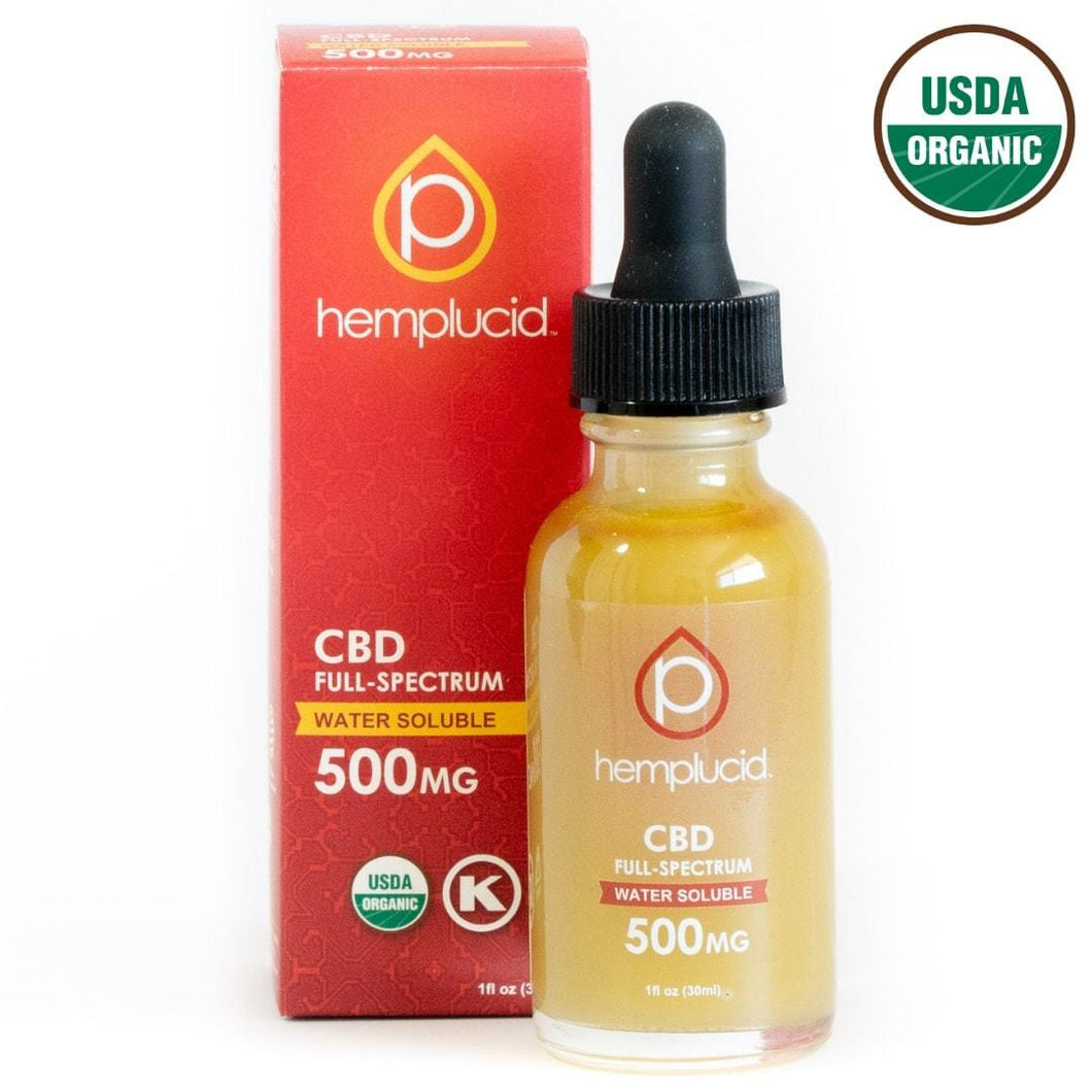 HEMPLUCID USDA ORGANIC SUBLINGUAL OIL | FULL SPECTRUM | WATER SOLUBLE | 500MG - CHARLOTTE CBD