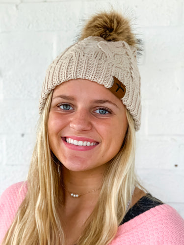 Love One Cream Fur Pom Beanie