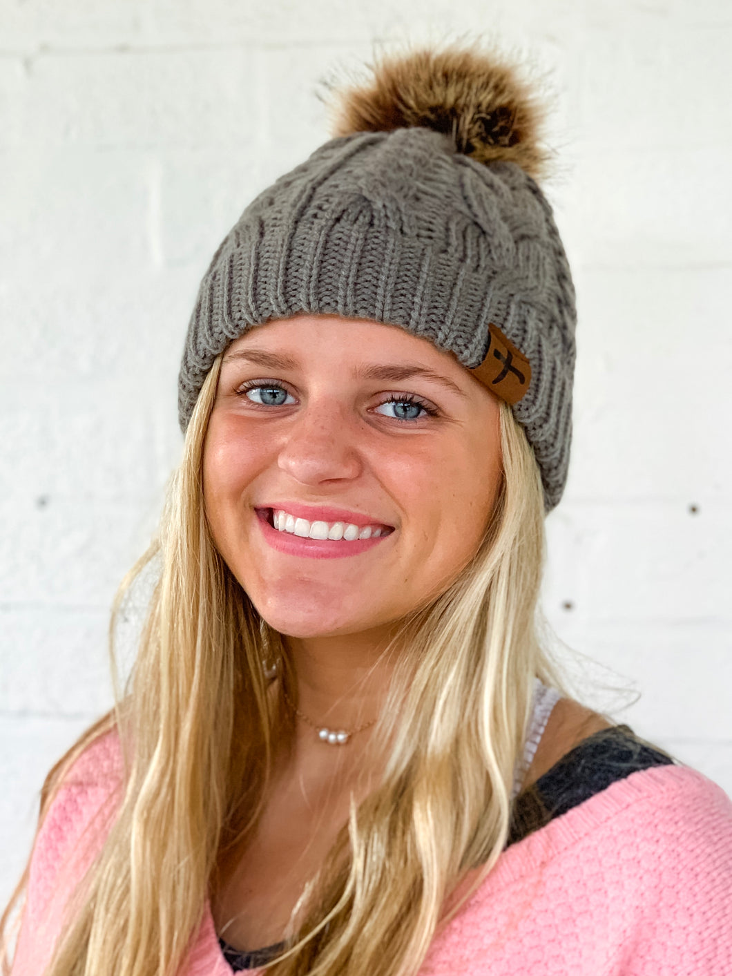Love One Grey Fur Pom Beanie