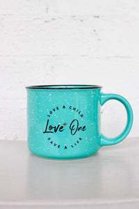 Love One Campfire 13 oz Ceramic Coffee Mug Teal