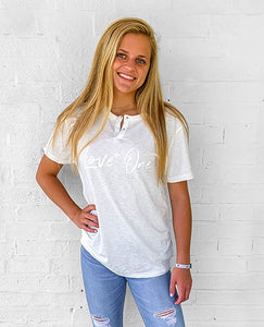 Love One Ivory Short Sleeve Henley