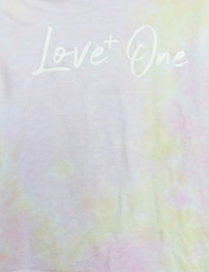 Love One Faded Pink & Yellow Tie Dye Tee
