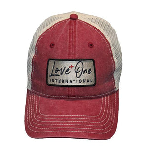 Love One Red Vintage Washed Mesh Hat