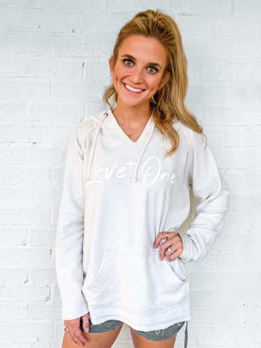 Love One Ivory Rough Edge Beach Hoodie