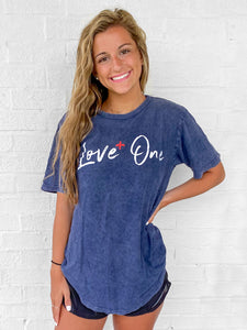 Love+One Vintage Denim Scoop Bottom Tee