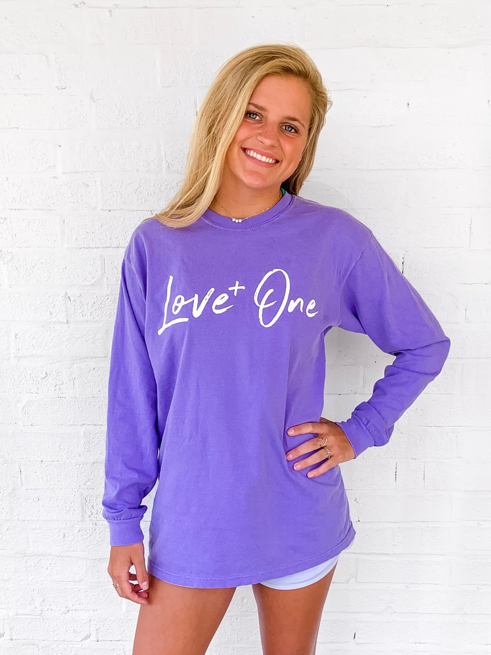 Love+One Comfort Colors Long Sleeve Violet