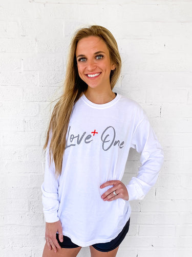 Love+One Comfort Colors Long Sleeve White