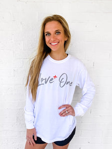 Love One Comfort Colors Long Sleeve White