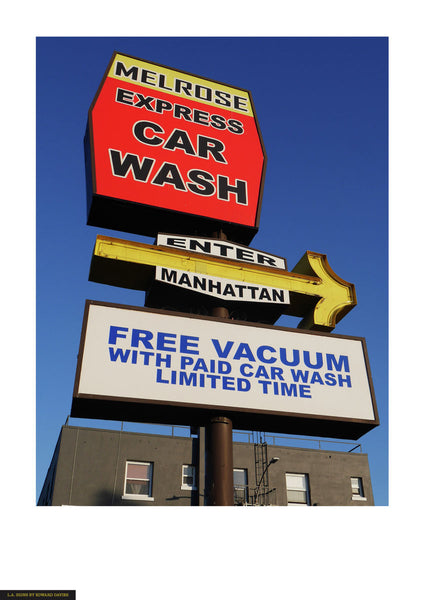 Fine art giclée photoprint of an Los Angeles car wash ad sign