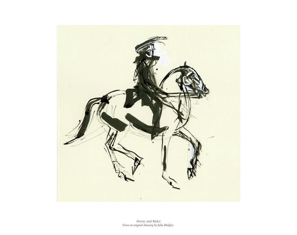 Horse and Rider in Hat by Julia Midgley