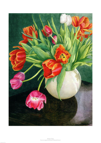 Fine art giclée print of tulips in a vase