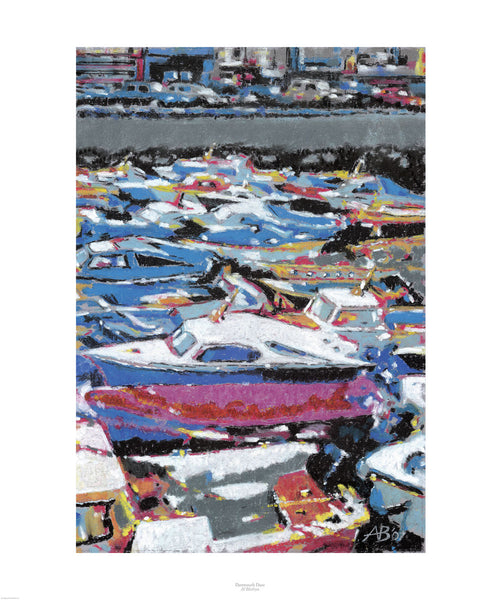 Fine art giclée print of Dartmouth Devon and boats in the harbour