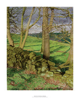 Fine art giclée print of trees and fields in Derbyshire