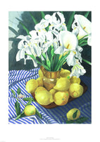 Fine art giclée print of lemons and lilies