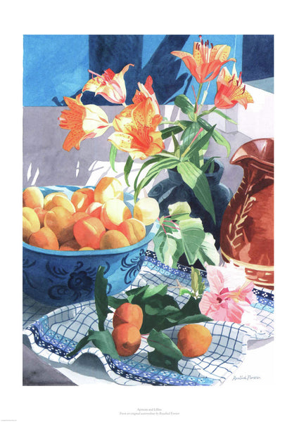 Fine art giclée print of apricots and flowers