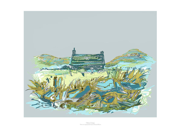 Fine art giclee print of Orkney Cottage in colour