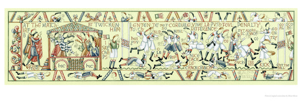Fine art giclee print pastiche of the Bayeaux Tapestry about rugby