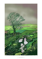 Fine art gyclee print of a wet lane in Yorkshire after the rain