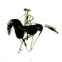 Fine art gyclee print of horse and rider, one of a series.