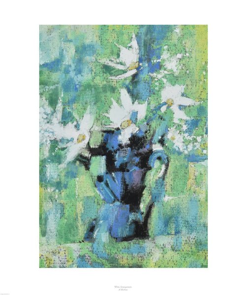 Fine art giclée print of flowers in a blue jug