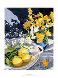 Fine art giclée print of freesias and lemons on a plate