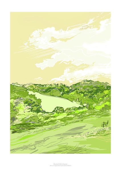 Fine art gyclee print of a cotswold landscape in summer