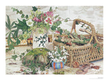 Fine art giclée print of a basket and flowers