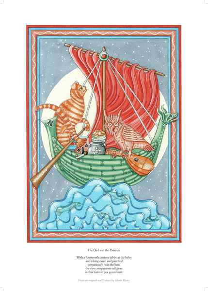 Fine art giclee print of a famous tale about cats, owls and shipping