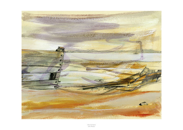 Fine art giclee print of beach in North Wales from watercolour painting