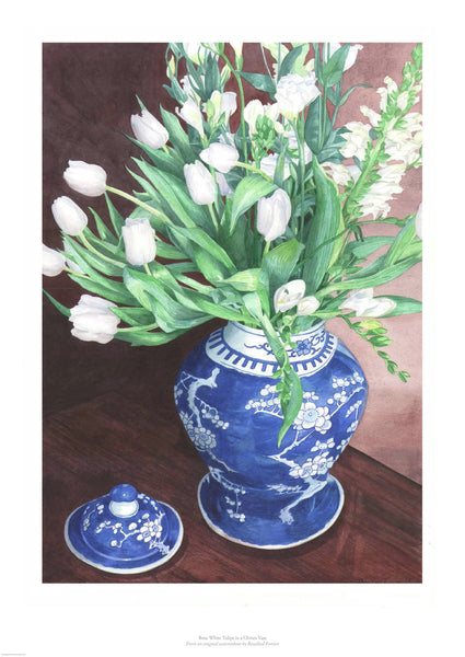 Fine art giclée print of white tulips in chinese vase