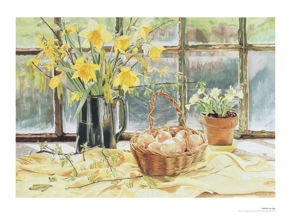 Fine art giclée print of flowers and eggs in a window