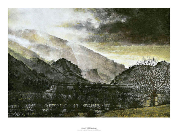 Fine art gyclee print of landscape of mountains in Wales